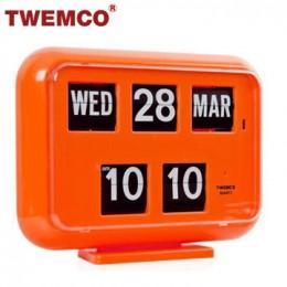 TWEMCO QD-35 翻頁鐘 機械式德國機芯 萬年曆 可壁掛及桌放 (橘色英文版)