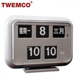 TWEMCO QD-35 翻頁鐘 機械式德國機芯 萬年曆 可壁掛及桌放 (灰色中文版)