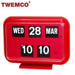 TWEMCO QD-35 翻頁鐘 機械式德國機芯 萬年曆 可壁掛及桌放 (紅色英文版)