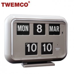 TWEMCO QD-35 翻頁鐘 機械式德國機芯 萬年曆 可壁掛及桌放 (灰色英文版)