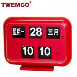 TWEMCO QD-35 翻頁鐘 機械式德國機芯 萬年曆 可壁掛及桌放 (紅色中文版)