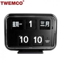 TWEMCO QD-35 翻頁鐘 機械式德國機芯 萬年曆 可壁掛及桌放 (黑色中文版)