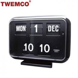 TWEMCO QD-35 翻頁鐘 機械式德國機芯 萬年曆 可壁掛及桌放 (黑色英文版)