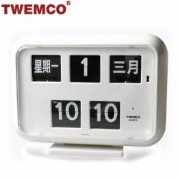TWEMCO QD-35 翻頁鐘 機械式德國機芯 萬年曆 可壁掛及桌放 (白色中文版)