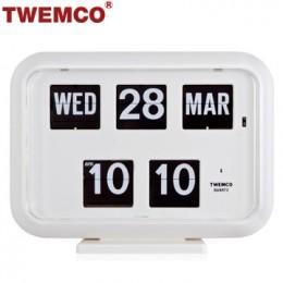 TWEMCO QD-35 翻頁鐘 機械式德國機芯 萬年曆 可壁掛及桌放 (白色英文版)