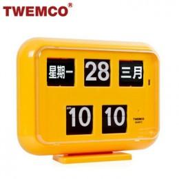 TWEMCO QD-35 翻頁鐘 機械式德國機芯 萬年曆 可壁掛及桌放 (黃色中文版)