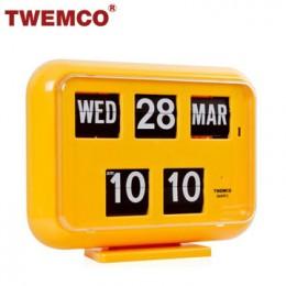 TWEMCO QD-35 翻頁鐘 機械式德國機芯 萬年曆 可壁掛及桌放 (黃色英文版)