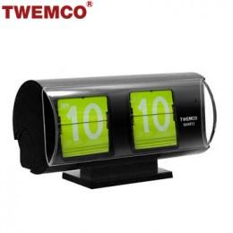 TWEMCO QT-30T 翻頁鐘 機械式德國機芯 復古半圓形 (黑+綠色)