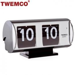 TWEMCO QT-30T 翻頁鐘 機械式德國機芯 復古半圓形 (黑色)