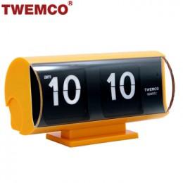 TWEMCO QT-30T 翻頁鐘 機械式德國機芯 復古半圓形 (黃色)