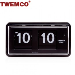 TWEMCO QT-30 翻頁鐘 機械式德國機芯 方形可壁掛及桌放 (黑色)