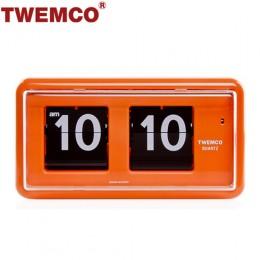 TWEMCO QT-30 翻頁鐘 機械式德國機芯 方形可壁掛及桌放 (橘色)
