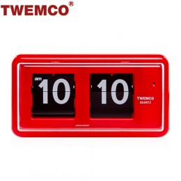 TWEMCO QT-30 翻頁鐘 機械式德國機芯 方形可壁掛及桌放 (紅色)