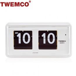 TWEMCO QT-30 翻頁鐘 機械式德國機芯 方形可壁掛及桌放 (白色)