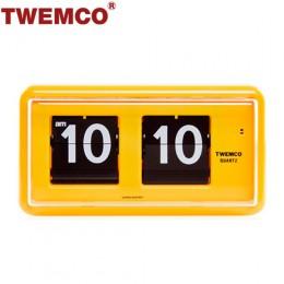 TWEMCO QT-30 翻頁鐘 機械式德國機芯 方形可壁掛及桌放 (黃色)