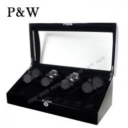 【P&W手錶自動上鍊盒】023-1BBV-D 手工木質鋼烤 搖錶器 LED燈 5種轉速設定(8+8支裝 全黑色)