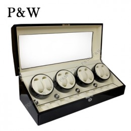 【P&W手錶自動上鍊盒】023BW 手工木質鋼烤 收藏盒 搖錶器(8+9支裝 黑+米色)