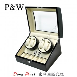 【P&W手錶自動上鍊盒】031BW 手工木質鋼烤 收藏盒 搖錶器(4+6支裝 黑+米色)