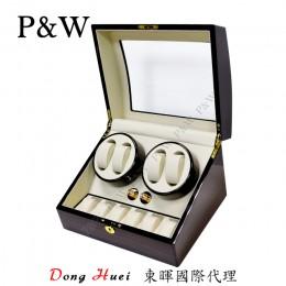 【P&W手錶自動上鍊盒】031EW 手工木質鋼烤 收藏盒 搖錶器(4+6支裝 黑壇木紋+米色)