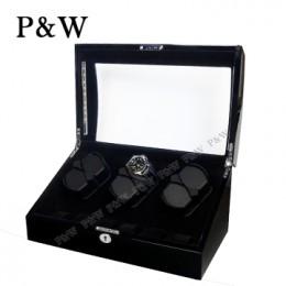 【P&W手錶自動上鍊盒】038-1BBV-D 手工木質鋼烤 搖錶器 LED燈 5種轉速設定(6+6支裝 全黑色)