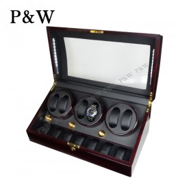 【P&W手錶自動上鍊盒】038EB-D 手工木質鋼烤 收藏盒 搖錶器 LED燈(6+7支裝 黑壇木紋+黑色)