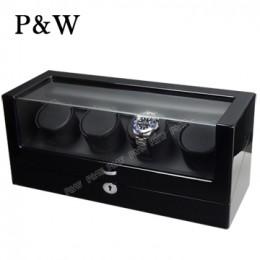 【P&W手錶自動上鍊盒】1012-4BB 手工木質鋼烤 搖錶器 5種轉速設定(4支裝 全黑色)
