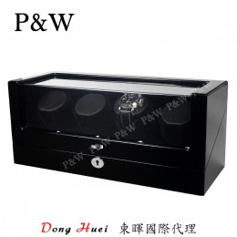 【P&W手錶自動上鍊盒】1012-4BBV 手工木質鋼烤 搖錶器 (4支裝 全黑色)