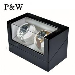【P&W手錶自動上鍊盒】1012BA 手工木質鋼烤 搖錶器 電池插電雙用(2支裝 黑+杏色)