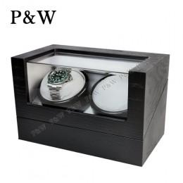 【P&W手錶自動上鍊盒】1012BG 手工木質啞光 搖錶器 電池插電雙用(2支裝 黑色木紋+灰色)