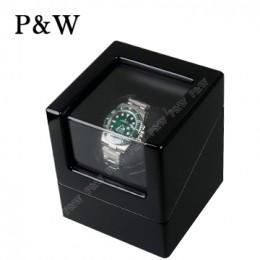 【P&W手錶自動上鍊盒】1041BB 手工木質鋼烤 搖錶器 電池插電雙用(1支裝 全黑色)