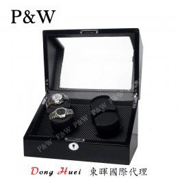 【P&W手錶自動上鍊盒】1052-1BC 手工木質鋼烤 搖錶器 5種轉速設定 電池插電雙用(4支裝 黑色+碳纖維紋)