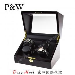 【P&W手錶自動上鍊盒】1052-1EB 手工木質鋼烤 搖錶器 5種轉速設定 電池插電雙用(4支裝 黑壇木紋+黑色)