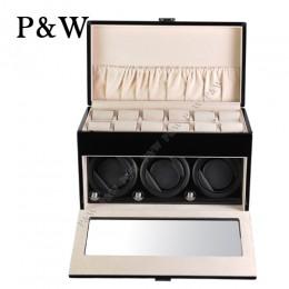 【P&W手錶自動上鍊盒】3+12BC 手工木質鋼烤 搖錶器 錶盒 收藏盒(3+12支裝 黑+米色)