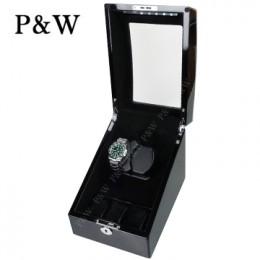 【P&W手錶自動上鍊盒】3024-1BBV-D 手工木質鋼烤 LED燈 5種轉速設定 電池插電雙用(2+3支裝 全黑色)
