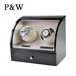 【P&W手錶自動上鍊盒】322BC 手工木質鋼烤 搖錶器 電子式5種轉速設定(2+2支裝 黑+米色)