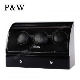 【P&W手錶自動上鍊盒】323BB 手工木質鋼烤 搖錶器 電子式5種轉速設定(3+3支裝 全黑色)