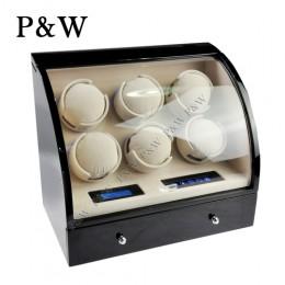 【P&W手錶自動上鍊盒】326BC-D 手工木質鋼烤 搖錶器 LED燈 電子式5種轉速設定(6+3支裝 黑+米色)