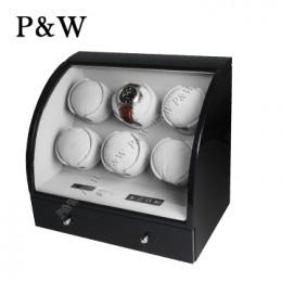 【P&W手錶自動上鍊盒】326BG 手工木質鋼烤 搖錶器 電子式5種轉速設定(6+3支裝 黑+灰色)
