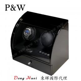 【P&W手錶自動上鍊盒】322BB 手工木質鋼烤 搖錶器 電子式5種轉速設定(2+2支裝 全黑色)