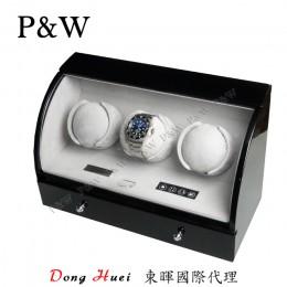 【P&W手錶自動上鍊盒】323BG 手工木質鋼烤 搖錶器 電子式5種轉速設定(3+3支裝 黑+灰色)