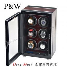 【P&W手錶自動上鍊盒】341-6EB 手工木質鋼烤 搖錶器 LED燈 電子式5種轉速設定(6支裝 黑壇木紋+黑色)