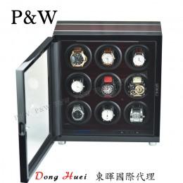 【P&W手錶自動上鍊盒】341-9EB 手工木質鋼烤 搖錶器 LED燈 電子式5種轉速設定(9支裝 黑壇木紋+黑色)