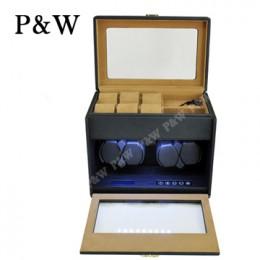 【P&W手錶自動上鍊盒】4+6WJ 手工皮質 搖錶器 LED燈 電子式5種轉速設定 電池插電雙用(4+6支裝 黑荔枝紋+駝色)