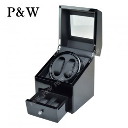【P&W手錶自動上鍊盒】90621BB-9 手工木質鋼烤 搖錶器 5種轉速設定 (2+2支裝 全黑色)