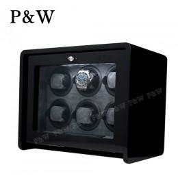 【P&W手錶自動上鍊盒】ARC-6BBR 手工木質鋼烤 搖錶器 LED燈 電子式5種轉速設定(6支裝 黑+灰色)