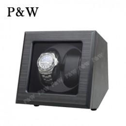 【P&W手錶自動上鍊盒】JDS200HTB 手工木質啞光 搖錶器 5種轉速設定 電池插電雙用 (2支裝 黑壇木皮紋+黑色)