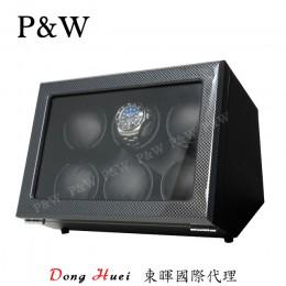 【P&W手錶自動上鍊盒】JDC600TB 手工木質鋼烤 搖錶器 電池插電雙用(6支裝 碳纖維紋)
