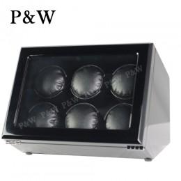 【P&W手錶自動上鍊盒】JDC600BB 手工木質鋼烤 搖錶器 電池插電雙用(6支裝 全黑色)