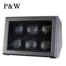 【P&W手錶自動上鍊盒】JDC600HTB 手工木質啞光 搖錶器 電池插電雙用(6支裝 黑壇木皮紋+黑色)
