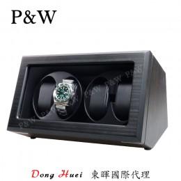 【P&W手錶自動上鍊盒】JDS400HTB 手工木質啞光 搖錶器 5種轉速設定 電池插電雙用 (4支裝 黑壇木皮紋+黑色)